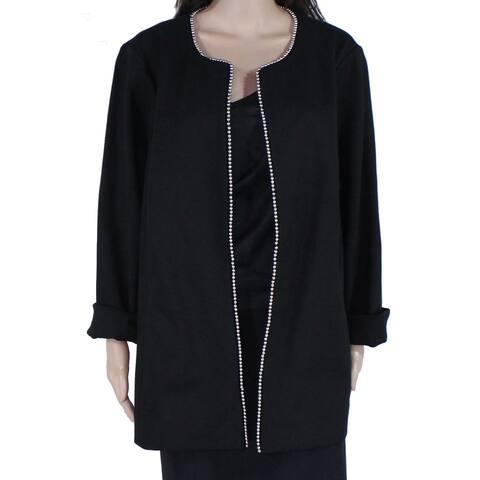 Alfani Women's Jacket Black Size 14W Plus Bead Embellish Open-Front
