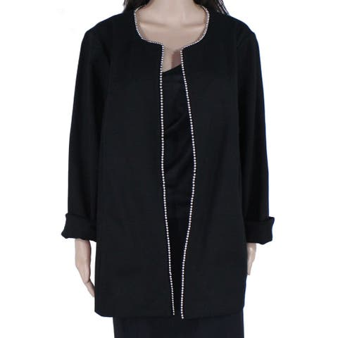 Alfani Womens Topper Jacket Black Size 20W Plus Beaded-Trim Open Front