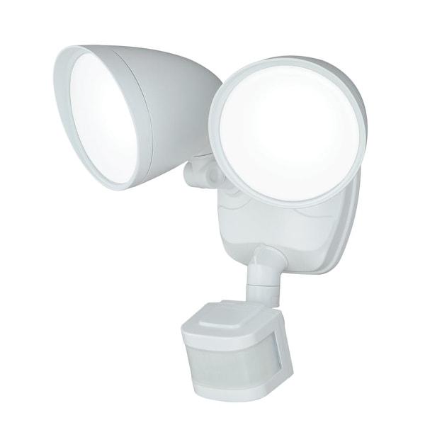 Vaxcel Lighting T0170 Tau 2-Light LED Motion Sensor Photocell Outdoor Flood Light - White - n/a
