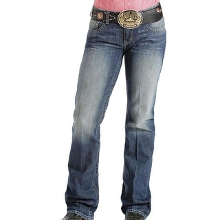 Cinch Western Denim Jeans Womens Ada Whiskering Med MJ80252071