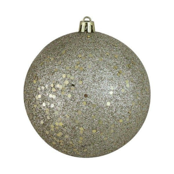 "Champagne Gold Holographic Glitter Shatterproof Christmas Ball Ornament 4"" (100mm)"