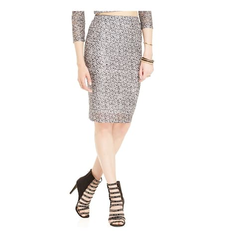 Material Girl Womens Patterned Mesh Pencil Skirt