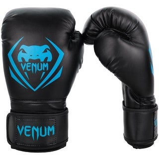 Venum Contender Hook and Loop Training Boxing Gloves - Black/Cyan
