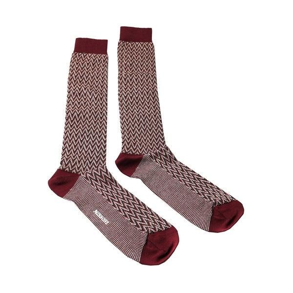 Missoni GM00CMU5240 0002 Maroon/Cream Knee Length Socks - L