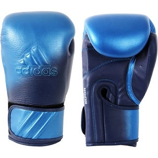 Adidas Speed 300D Hook and Loop Boxing Gloves - Metallic Blue/Collegiate Navy