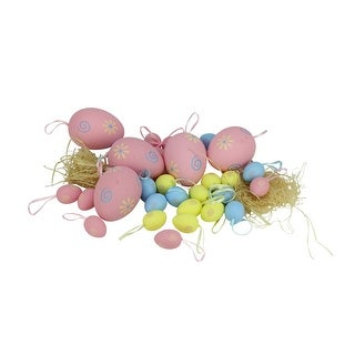 """Set of 29 Pastel Pink, Yellow and Blue Spring Easter Egg Ornaments 3.25"""" - N/A"""