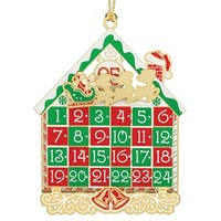 "3.5"" Red and Green 24K Gold Christmas Advent Calendar Ornament"