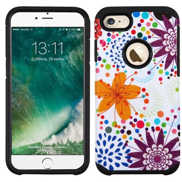 Insten Purple/ White Flower Buds Hard PC/ Silicone Dual Layer Hybrid Rubberized Matte Case Cover For Apple iPhone 7