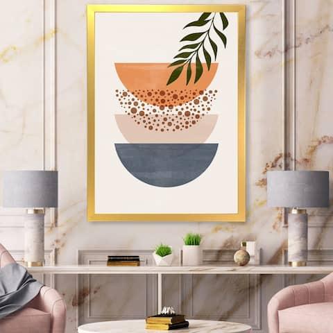 Designart 'Abstract Geometrical Sun and Moon With Leaf III' Modern Framed Art Print
