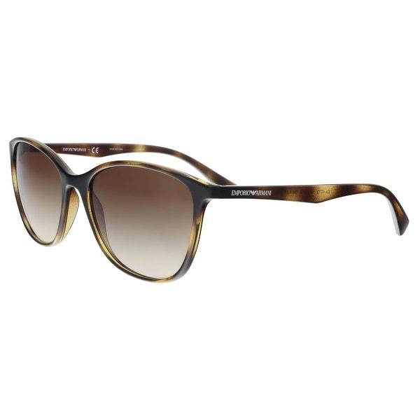 821e960346 Shop Emporio Armani EA4073 502613 Havana Cat Eye Sunglasses - 56-17 ...