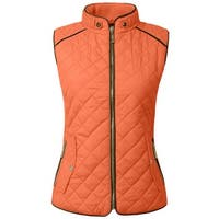 NE PEOPLE Womens Lightweight Quilted Zip Vest [NEWV60]