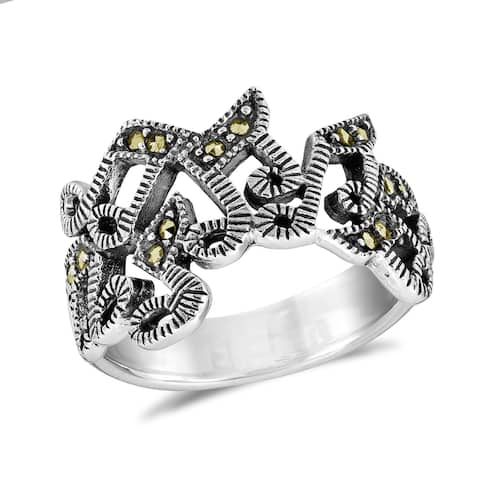 Handmade Musical Note Melody Marcasite Sterling Silver Ring (Thailand)