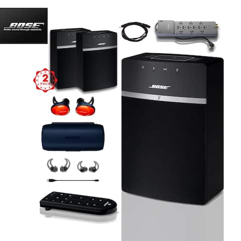 2x Bose SoundTouch 10 (Black) + FREE SoundSports + 2 pc Acc Bundle