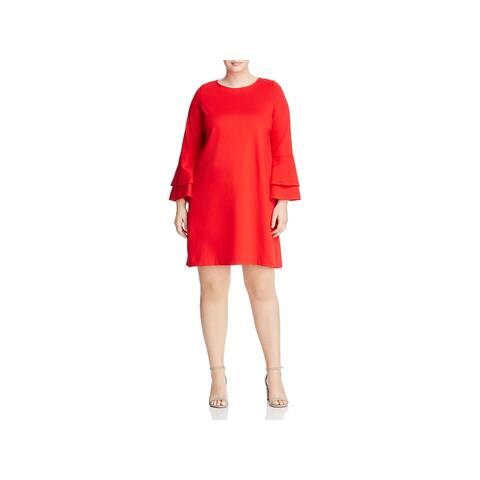 Love Ady Womens Plus Mini Dress Bell Sleeve A-Line - 0X