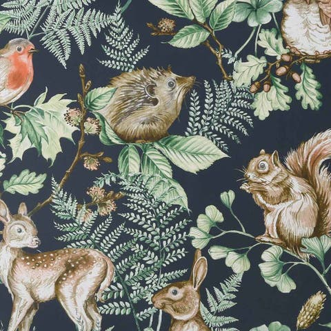 Woodland Animals Navy Wallpaper
