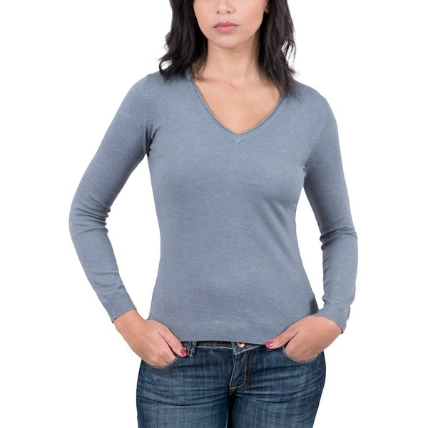 Real Cashmere Grey V-Neck Womens Sweater