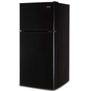 Della Compact Double Door Refrigerator and Freezer, 4.5 Cubic ft, Black, White & Stainless Steel