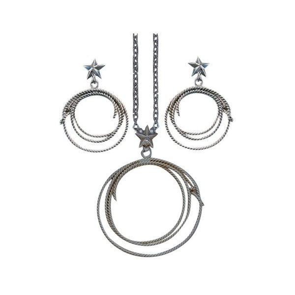 Bar V Western Women Necklace Earrings Engrave Lassos Silver 310-069