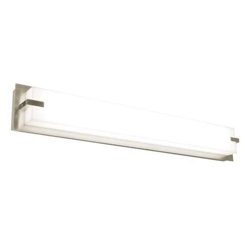 Sinclair 50-inch Satin Nickel LED Vanity, White Shade