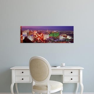 Easy Art Prints Panoramic Image 'Buildings lit up at dusk in a city, Las Vegas, Clark County, Nevada, USA' Canvas Art