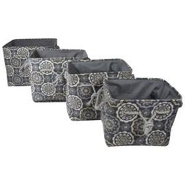 Rectangular Canvas Storage Bins Nested (Set of 4) (Dark Grey and White)