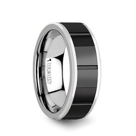 ROCHESTER Tungsten Ring with Horizontal Grooved Black Ceramic Center 8mm