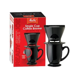 Melitta 64010 Pour Over One-Cup Ceramic - Black (Single-Pack) Ceramic Coffeemaker - Black
