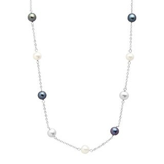 Grey, White & Black Freshwater Pearl Station Necklace in 14K White Gold - Grey