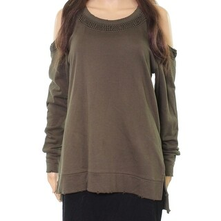 Joe's Jeans Olive Womens Cold Shoulder Sweatshirt