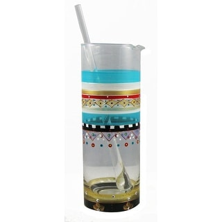 Mosaic Carnival Confetti Hand Painted Martini Pitcher with Stirring Rod - 40 Oz.
