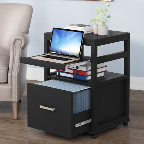 Vertical File Cabinet with Drawer, Wood Printer Stand with Storage Shelves