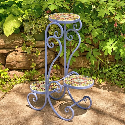 "Set of 2 ""New Orleans"" Folding Iron Mosaic Plant Stand - Large"