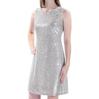 TOMMY HILFIGER $159 Womens 1484 Silver Sequined Jewel Neck Dress 6 B+B