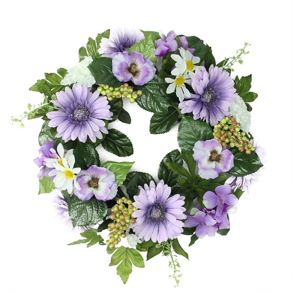 """18"""" Decorative Purple and Green Gerbera Daisy and Pansy Flowers Artificial Spring Floral Wreath"""