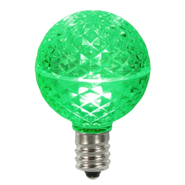 Club Pack of 25 LED G50 Green Replacement Christmas Light Bulbs - E17 Base