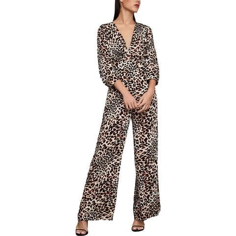 BCBG Max Azria Womens Jumpsuit Animal Print Surplice - Neutral - Classic Leopard