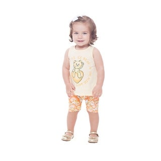 Pulla Bulla Baby Girl Outfit Sleeveless Shirt Top and Shorts 2pc Set  3-12 Months