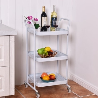Costway 3-Tier Rolling Kitchen Trolley Cart Steel Island Storage Utility Service Dining