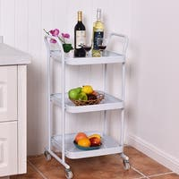Costway 3-Tier Rolling Kitchen Trolley Cart Steel Island Storage Utility Service Dining - White
