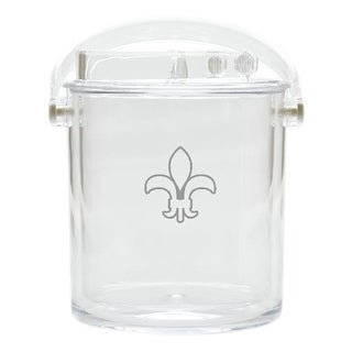 Carved Solutions Acrylic Insulated Ice Bucket With Tongs -Fleur-De-Lys