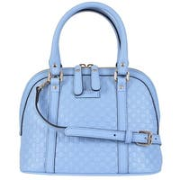 Gucci 449654 Micro GG Baby Blue Leather Convertible Mini Dome Purse