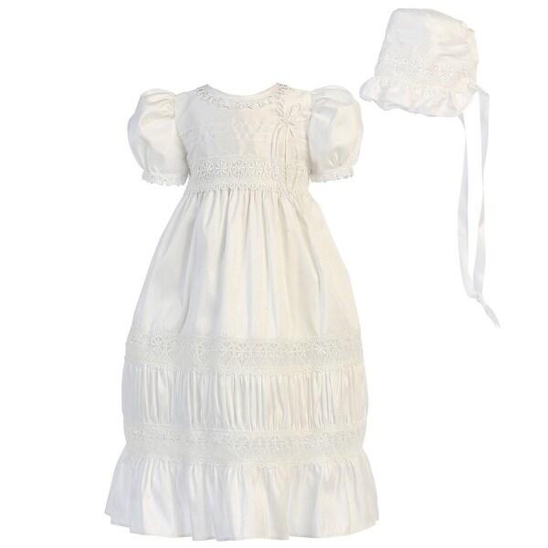 Angels Garment Baby Girls White Poly Dupioni Ruching Lace Baptism Dress 3-18M