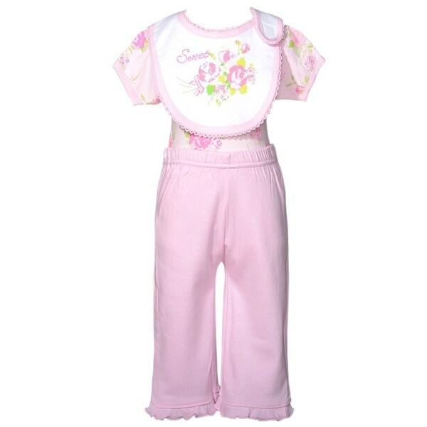 Mon Cheri Light Pink Roses 3 Pc Layette Bib Set Baby Girl 0-3M