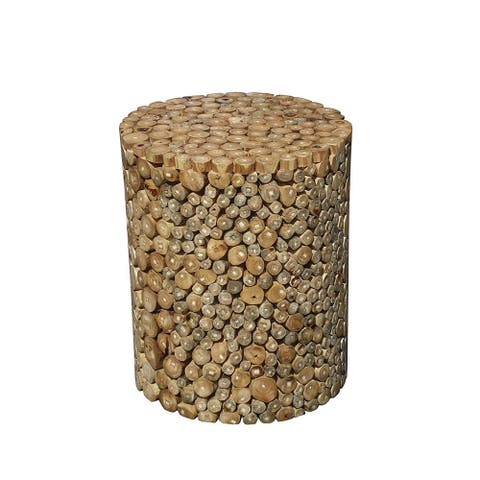 Offex Modern Hand Crafted Round Mountain Stool -Teak Wood