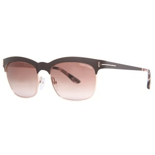 Tom Ford Elena TF 437 48F Matte Brown/Gold Brown Gradient Square Sunglasses - matte brown/gold - 54mm-17mm-135mm