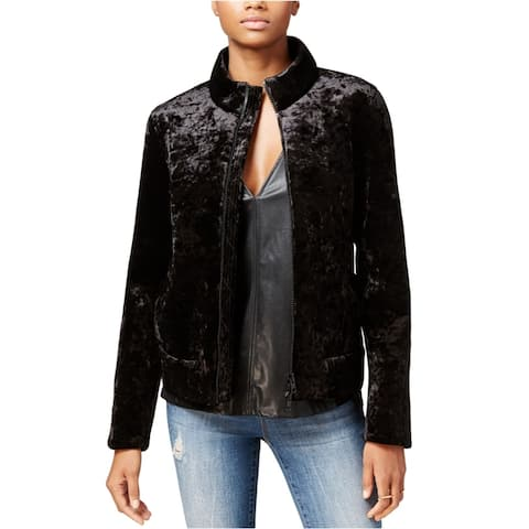 Rachel Roy Womens Velvet Bomber Jacket, Black, X-Small