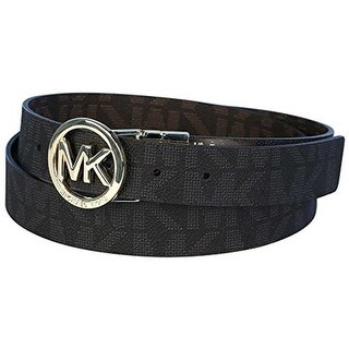 Michael Kors MK Logo Signature Monogram Twist Reversibe Belt, Black To Brown 551342C (2 options available)