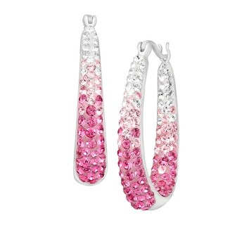 Crystaluxe Hoop Earrings with Rose Swarovski Crystals in Sterling Silver with Gold Posts - Pink