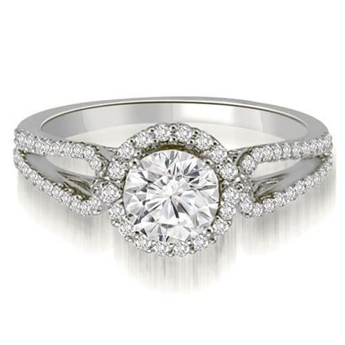 0.85 cttw. 14K White Gold Halo Split-Shank Round Diamond Engagement Ring
