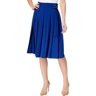 Calvin Klein Womens Petites Pleated Skirt A-Line Knee-Length